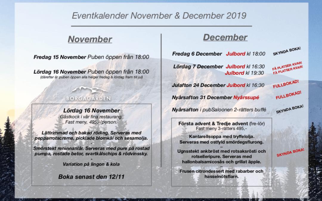 Eventkalender November & December 2019